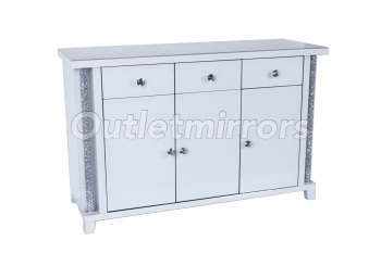 white Diamond Crush White Pillar Sideboard