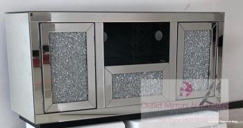 * Diamond Crush Sparkle Mirrored TV Entertainment Unit 110cm wide in stock