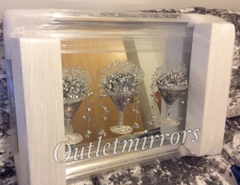3D Martini 3 cup silver wall art on a Silver mirror backing In a silver Frame