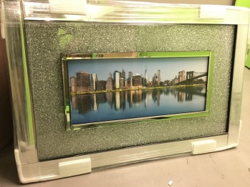 """Day scene New York """" Wall Art with Silver Sparkle backing & Mirrored Frame in stock for a quick delivery"""