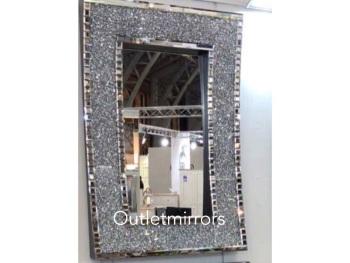 * New Diamond Crush Sparkle In curve Wall Mirror 120cm x 80cm item in stock