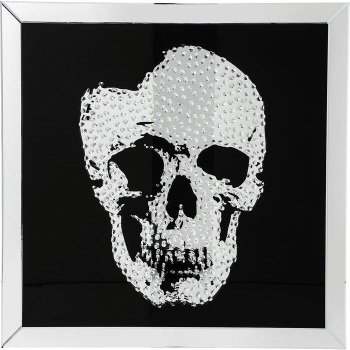 """Floating Crystals """"Skull"""" Decor on Black Gloss & Silver Bevelled Mirror x 90cm x 90cm item in stock fast delivery size 90cm x 90cm"""