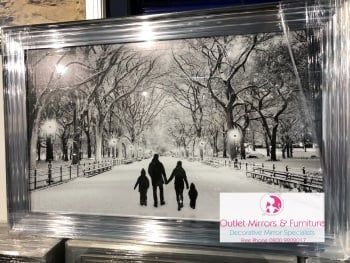 Winter Walk Family of 4 in a Chrome stepped framed 115cm x 74cm