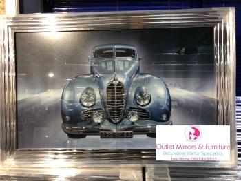 """Chrome stepped framed art print """" Sparkle Retro Car """" 114cm x 64cm"""