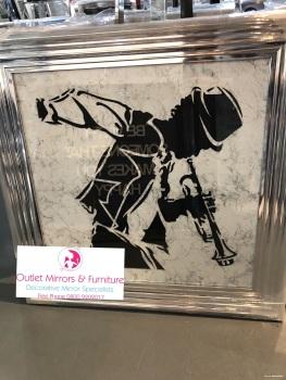 "Chorme stepped framed art print "" jazz trumpet Player"""