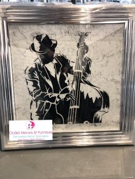 "Chorme stepped framed art print "" jazz Base Player"""