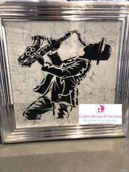 "Chorme stepped framed art print "" jazz Sax Player"""