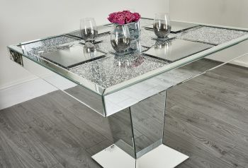 "* Diamond Crush Sparkle Mirrored Square Dining Table ""Elegance""  with fitted placemats in stock"