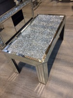 * New Diamond Crush Sparkle Crystal Mirrored Rectangular Coffee Table - in stock
