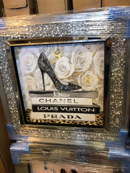 """Sparkle Shoe Chanel, louis Vuitton, Dior,Prada Wall Art in a diamond crush frame"