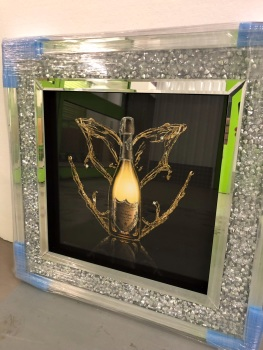 """Don Perignon Glitter Art in a diamond cush Mirrored Frame - in stock"