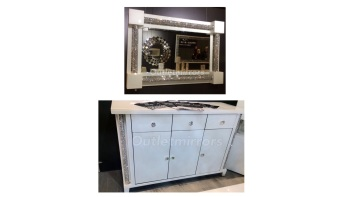 * Package Deal Diamond Crush Crystal Mirror and white 3 Door / 3 Draw Pillar Sideboard - item in stock