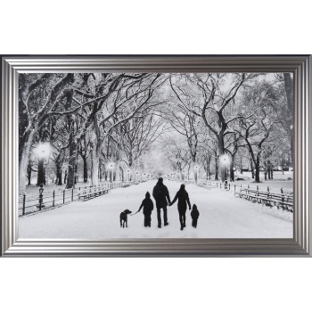 Winter Walk Family of 4 & the Dog in a choice of frame colours