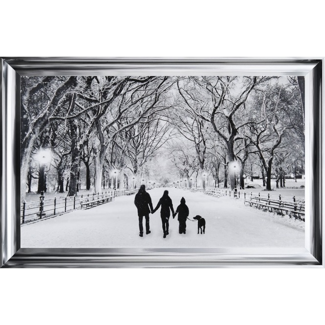 Winter Walk Family of 3 & the Dog in a choice of frame colours