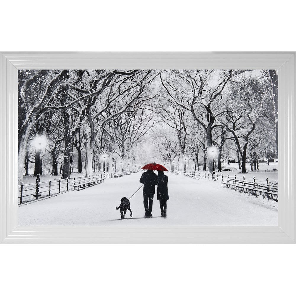 Winter Walk Couple & the Dog  in a choice of frame colours