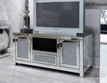 * Diamond Crush Sparkle Mirrored TV Entertainment Unit 120cm wide item in stock for immediate delivery
