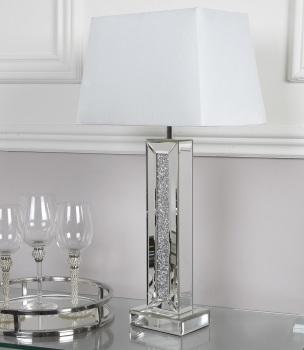 ^Crush Sparkle Mirrored Pillar Lamp with shade