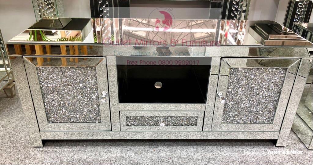 * Diamond Crush Sparkle Mirrored TV Entertainment Unit 130cm item in stock