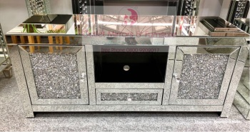 * Diamond Crush Sparkle Mirrored TV Entertainment Unit 120cm in stock for immediate delivery