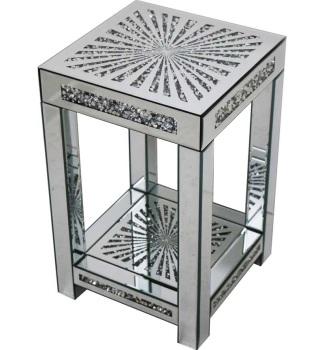 * Diamond Crush Sparkle Crystal Mirrored Sunburst Lamp Table Border Trim small