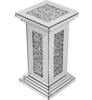 * New Diamond Crush Sparkle Crystal  Mirrored Pedestal Lamp Table 56cm