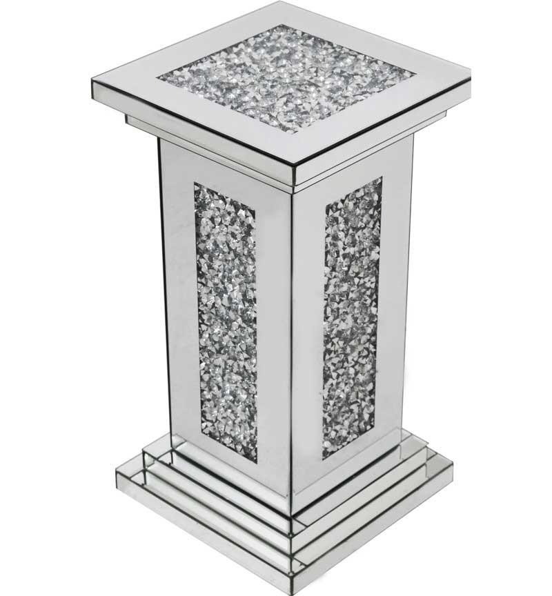 * New Diamond Crush Sparkle Crystal  Mirrored Pedestal Lamp Table 56cm