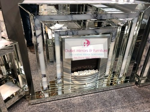 * Mirror & Marble Effect fire place with electric fire