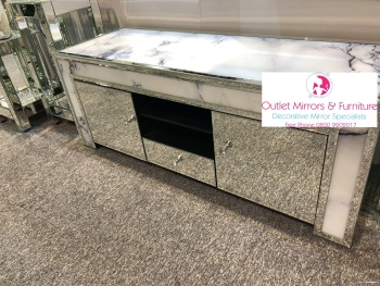 * New  Mirror & Marble effect TV Entertainment Unit 144cm