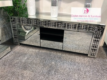 * Crystal Teardrop Mirrored TV Entertainment Unit 144cm item in Stock