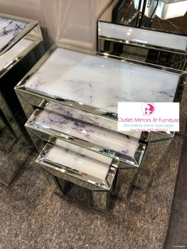 Mirror & Marble Effect Nest of 3 Tables