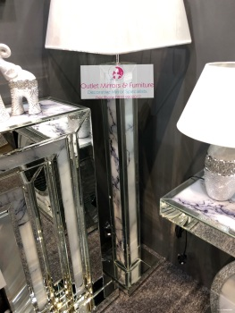 Mirror & Marble effect floor lamp with silver or white shade