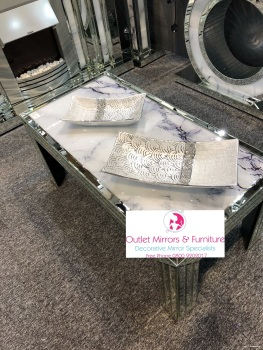 Mirror & Marble Effect Coffee Table