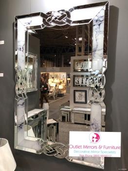 Mirror & Marble effect Twist Wall Mirror 120cm x 80cm