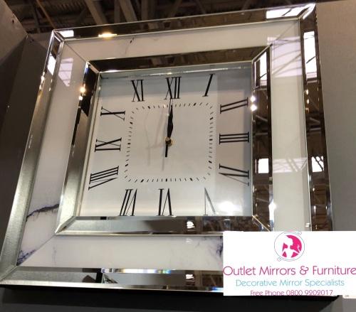 Mirror & Marble effect Wall Clock 50cm x 50cm