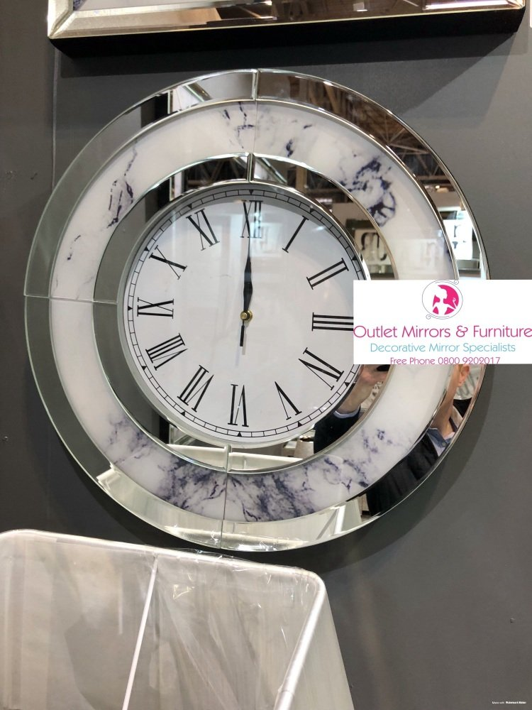 Mirror & Marble effect Wall Clock round 50cm dia