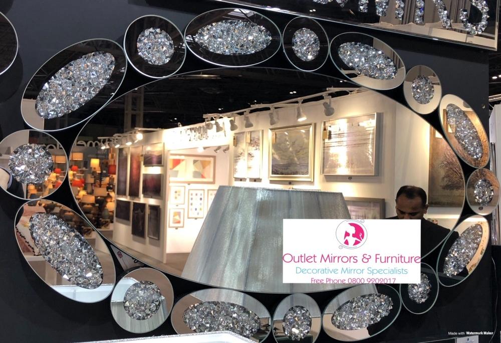 * New Diamond Crush Sparkle Oval Wall Mirror item in stock