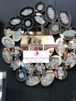 * New Diamond Crush Sparkle Round Wall Mirror 80cm dia  item in stock