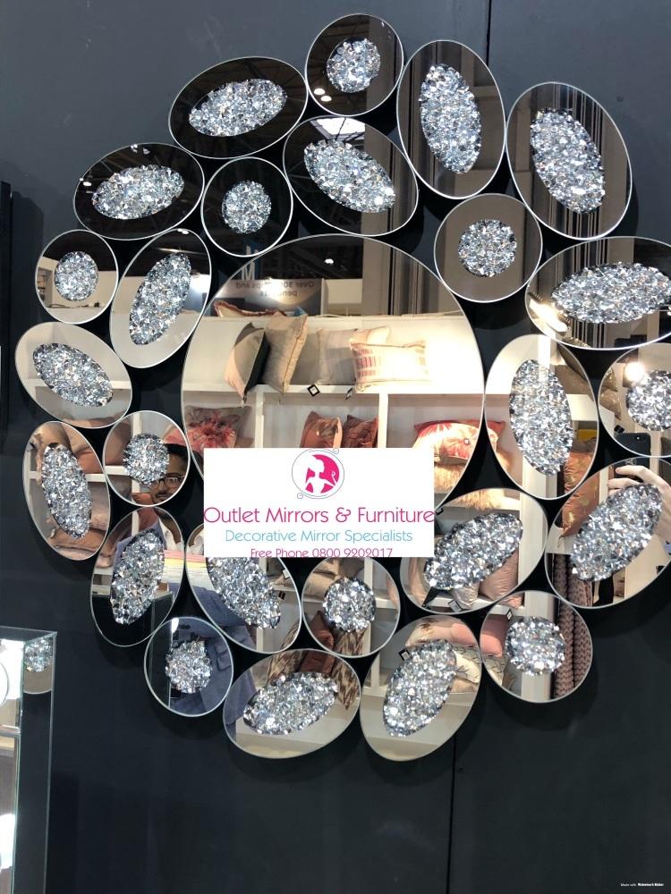 * New Diamond Crush Sparkle Round Wall Mirror 80cm dia  item in stock