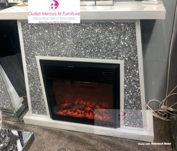*New Madison White Diamond Crush Sparkle Mirrored fire surround with electric fire