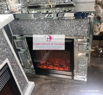 *New  Cube Diamond Crush Sparkle Mirrored fire surround with electric fire