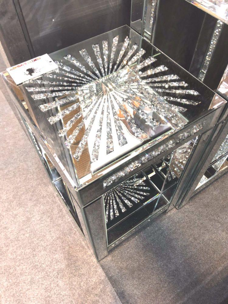* Diamond Crush Sparkle Crystal Mirrored Sunburst Lamp Table Border Trim la