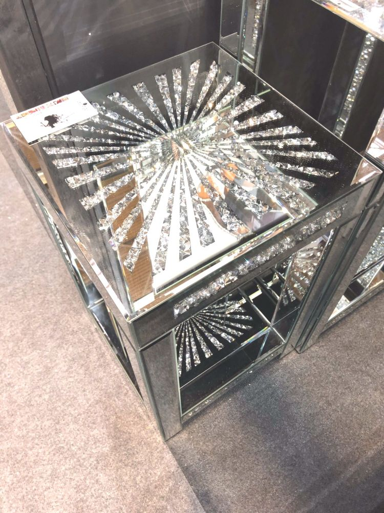* Diamond Crush Sparkle Crystal Mirrored Sunburst Lamp Table Border Trim sm