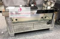 * special offer Diamond Crush Sparkle Mirrored TV  2 draw Entertainment Unit in stock