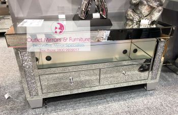 * Diamond Crush Sparkle Mirrored TV  2 draw Entertainment Unit