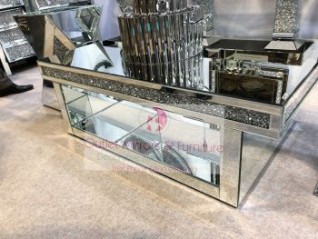 * New Diamond Crush Sparkle Crystal Mirrored Rectangular Coffee Table with Diamond crush Border 120cm