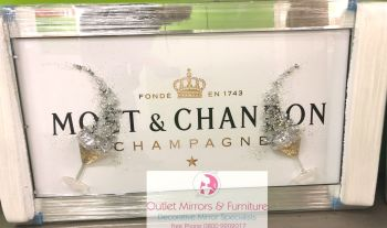 ** Moet White and Gold Glitter 3d Champagne Glasses Art in a Mirrored Frame ** 114cm x 65cm item in stock