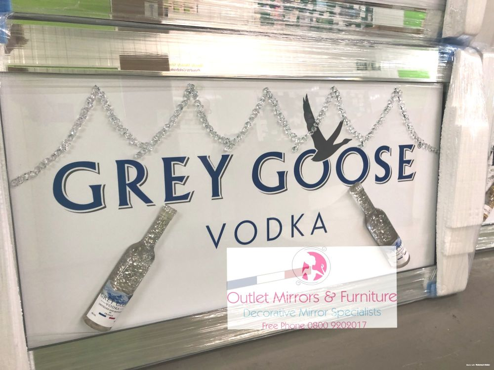 ** Grey Goose 3d Bottles Art in a Mirrored Frame ** 114cm x 65cm