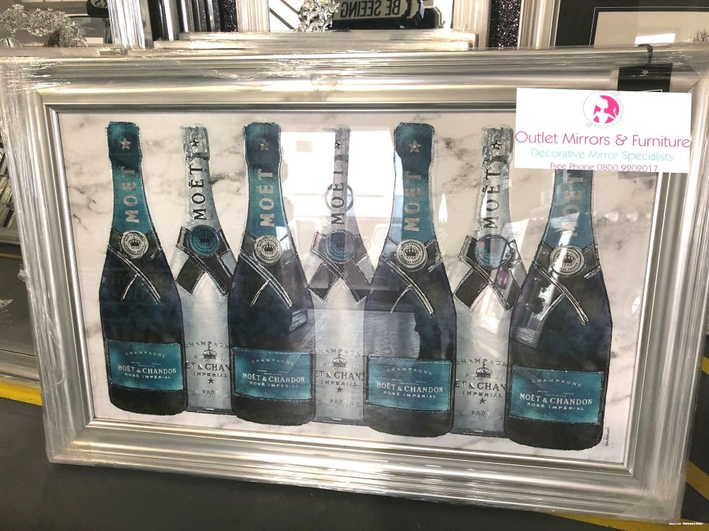 ** Moet Champagne Bottles Colourful Art in a Mirrored Frame ** 114cm x 75cm
