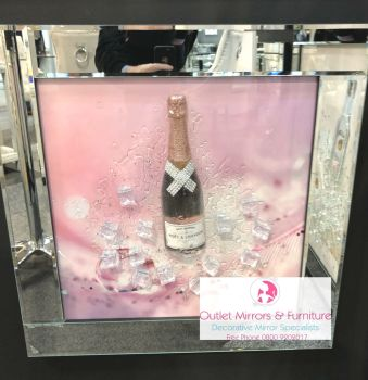 ** 3d Moet Pink Champagne Glitter Art Mirrored Frame ** 65cm  x 65cm - in stock