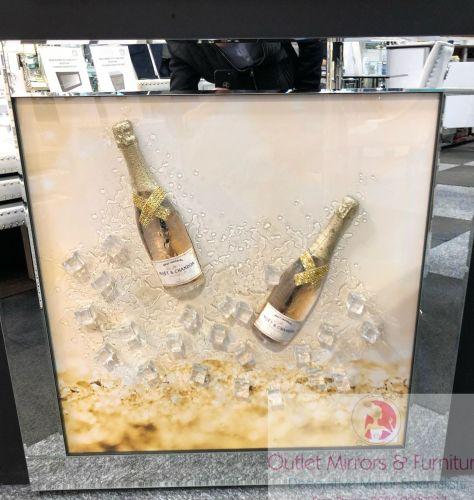 ** 3d Moet Champagne Glitter Art Mirrored Frame ** 87cm x 87cm large